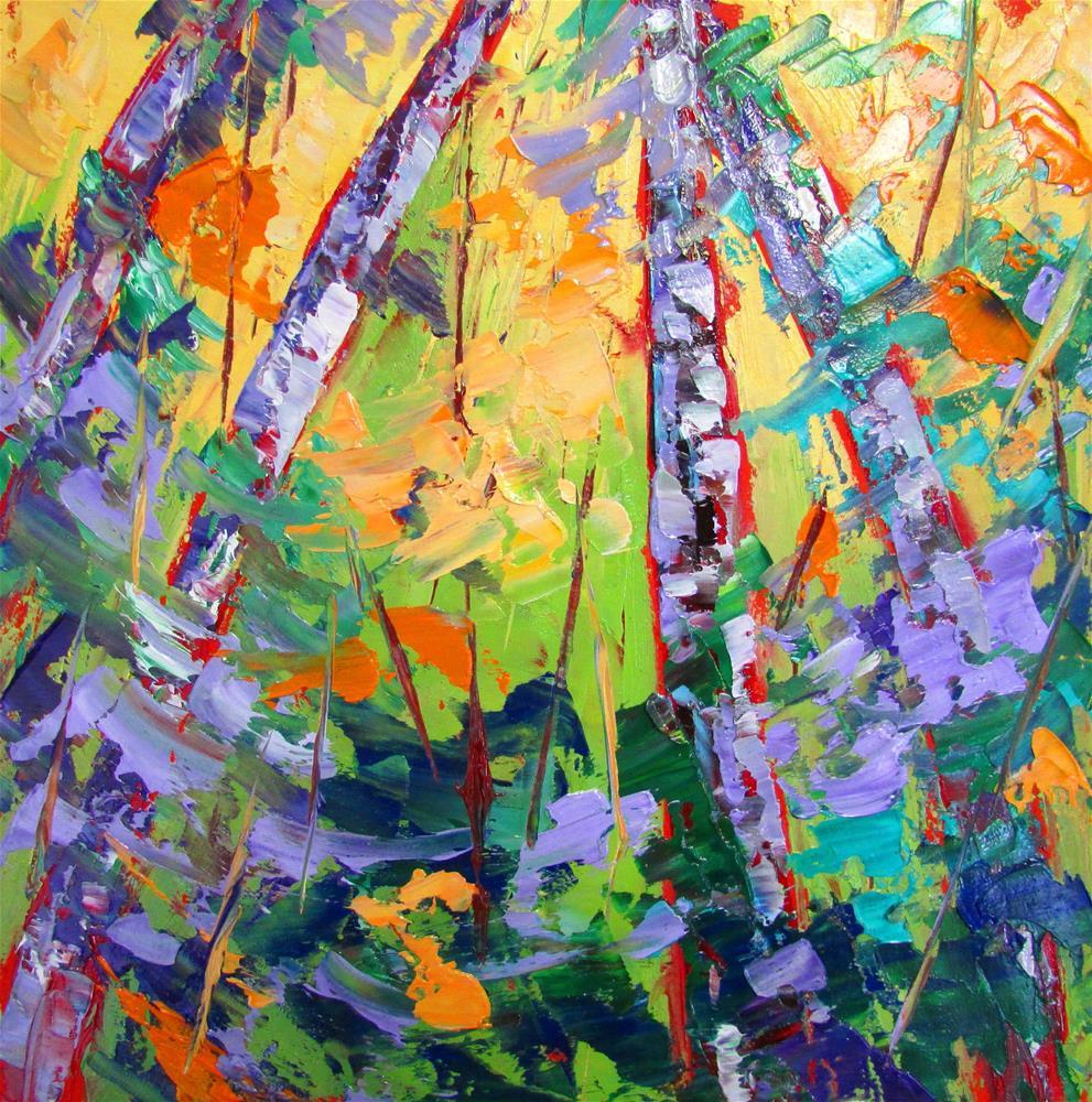 """""""8 x 8 inch oil Little birches #3"""" original fine art by Linda Yurgensen"""