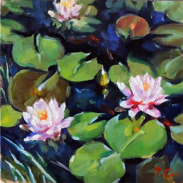 """""""Summer Lotus Pond"""" original fine art by Michelle chen"""