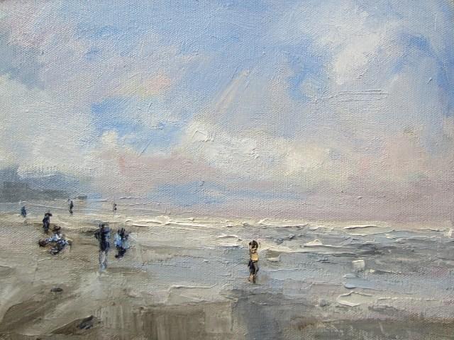 """""""Seascape study Winter kids playing  Autumn Breeze"""" original fine art by Astrid Buchhammer"""