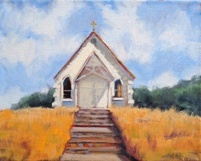 """""""Little Church on the Hill"""" original fine art by Deborah Newman"""