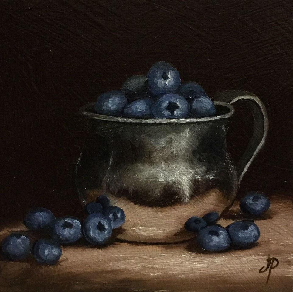 """Blueberry cup"" original fine art by Jane Palmer"
