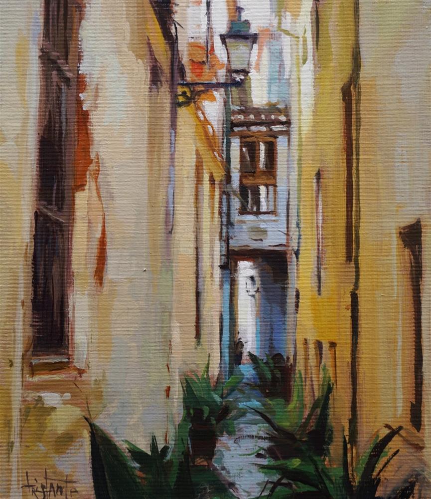 """""""Alley of Granada"""" original fine art by Víctor Tristante"""