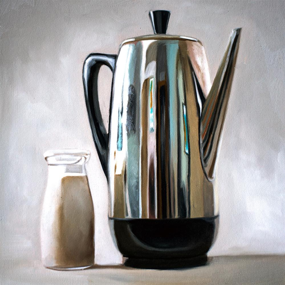 """""""Percolator Coffee & Cream"""" original fine art by Lauren Pretorius"""