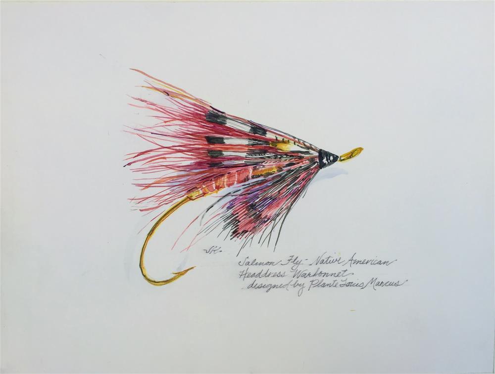 """""""Salmon Fly - Native American Headdress Warbonnet"""" original fine art by Jean Krueger"""