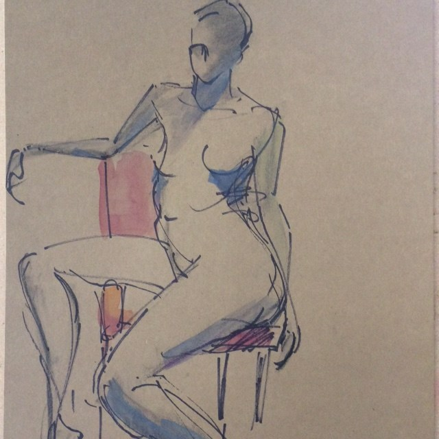 """""""Girl on a Red Chair"""" original fine art by Naomi Bautista"""