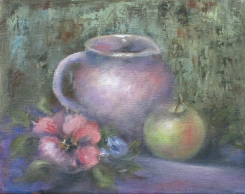 """""""Pink Pitcher and Green Apple"""" original fine art by Barbara Wagner"""