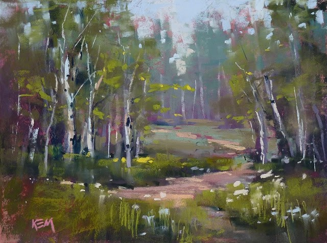 """""""See a Live Video Demo of this Forest Pastel Painting!"""" original fine art by Karen Margulis"""