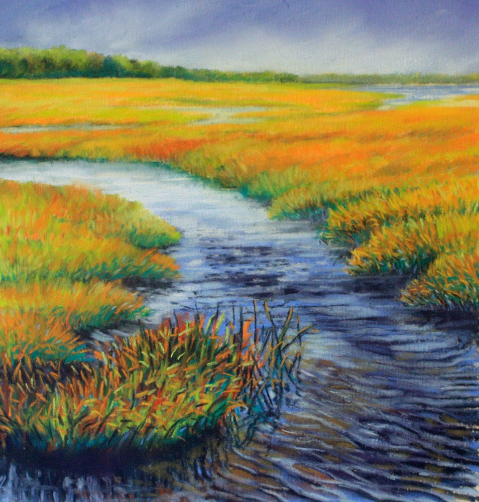 """Yellow Marsh"" original fine art by Jill Bates"