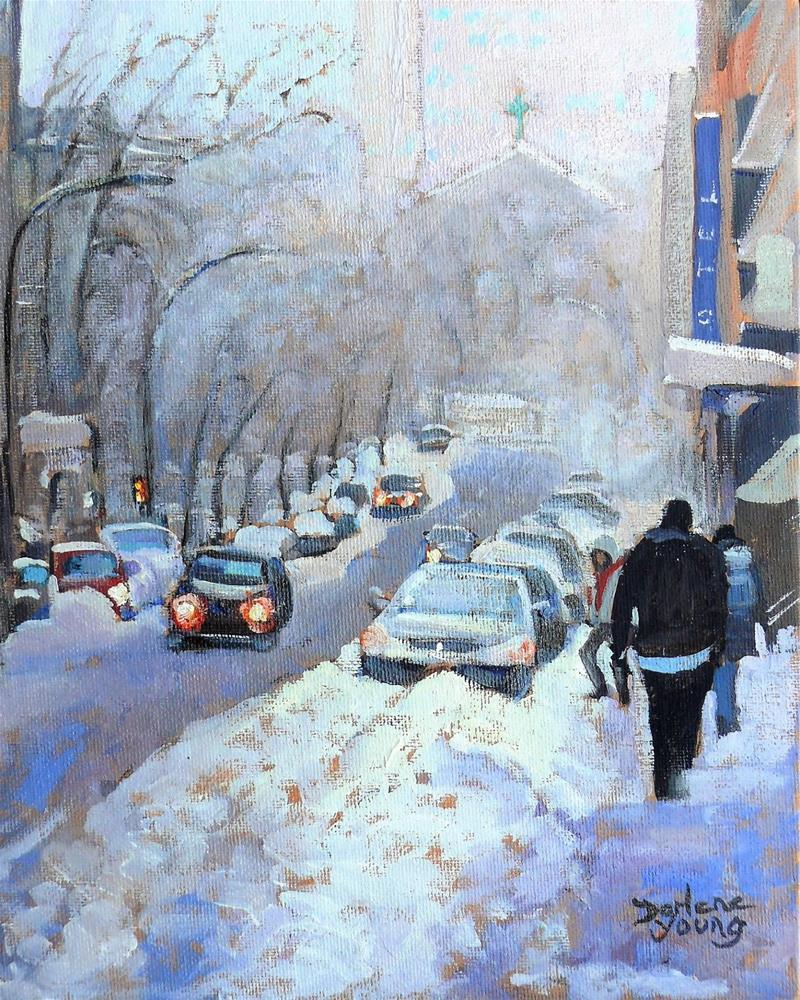 """983 Montreal Winter Scene, 8x10, oil on board"" original fine art by Darlene Young"