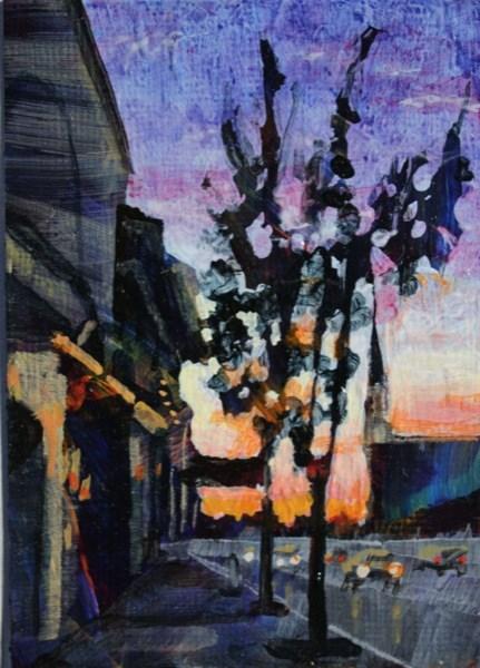 """Main Street Williamsville at dusk."" original fine art by Chris Breier"