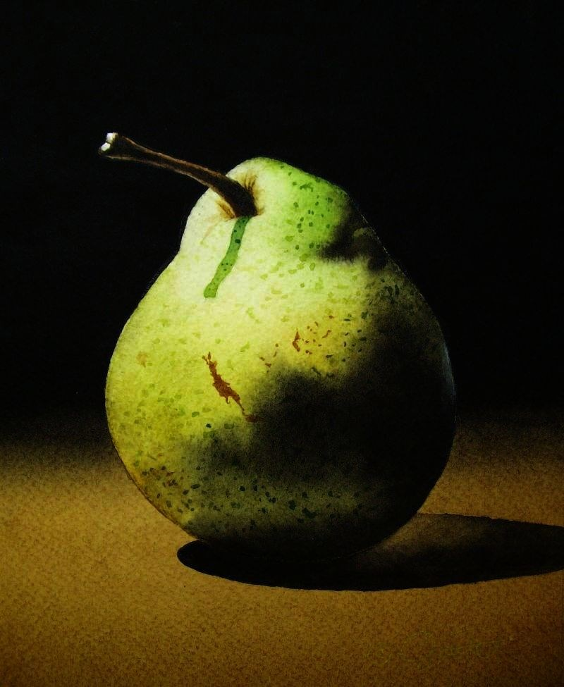 """Pear 2"" original fine art by Jacqueline Gnott, TWSA, WHS"
