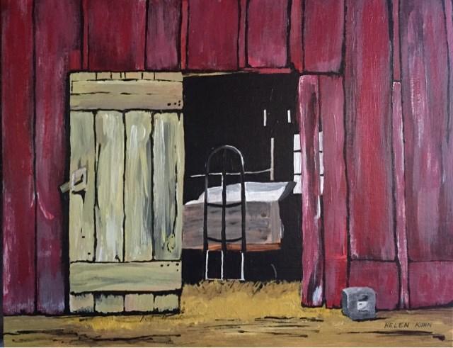 """The Red Barn"" original fine art by Helen Kuhn"