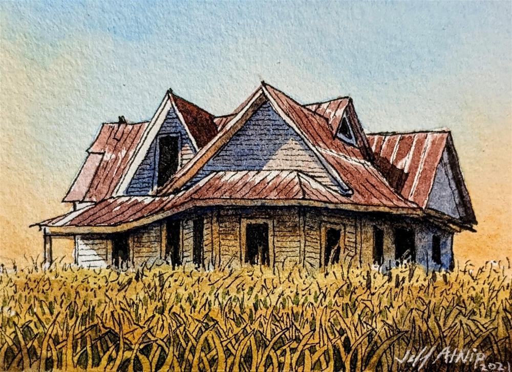 """""""House in the Field"""" original fine art by Jeff Atnip"""