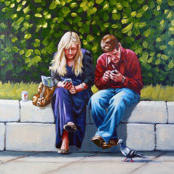 """You text.  I tweet!"" original fine art by Alix Baker PCAFAS AUA"
