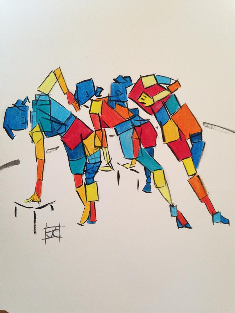 """leaning poses"" original fine art by Arron McGuire"
