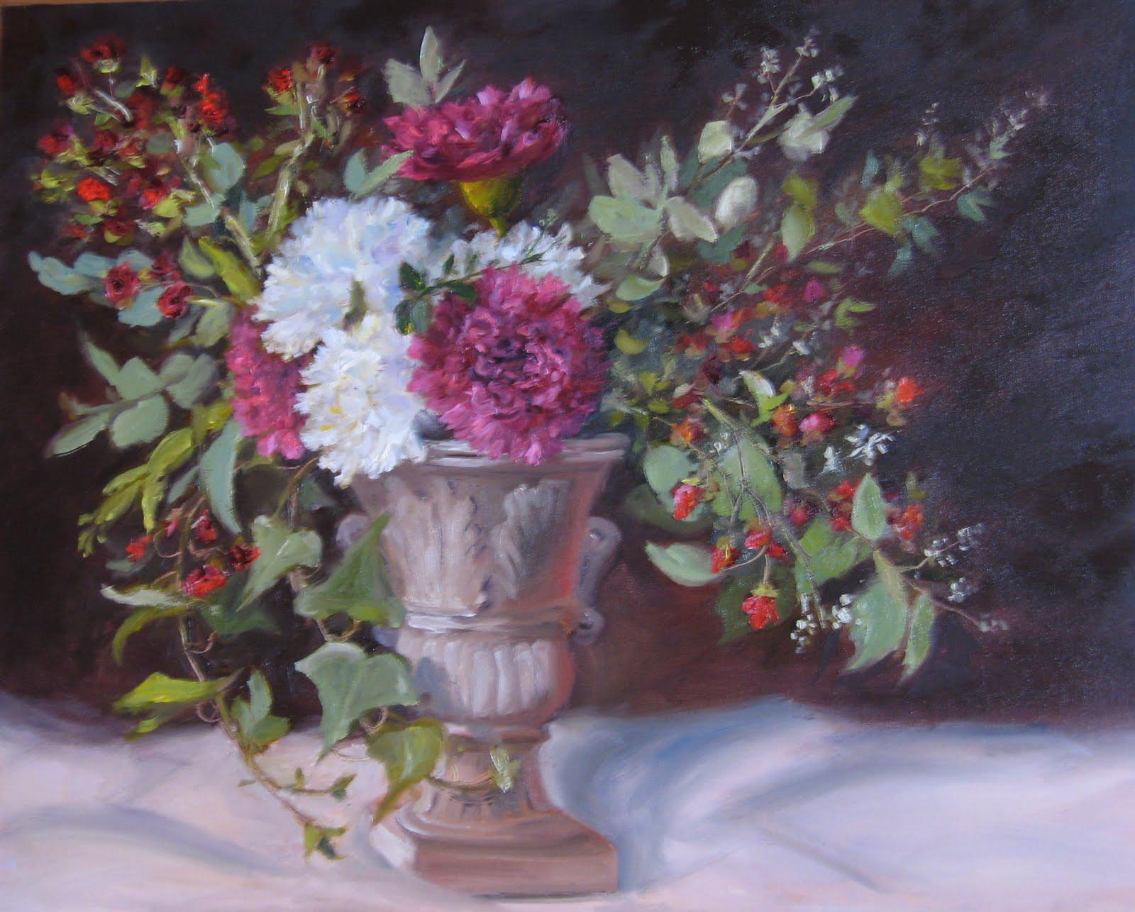 """Flower Study #28- More Complex Floral Design-Classic Urn"" original fine art by Pat Fiorello"