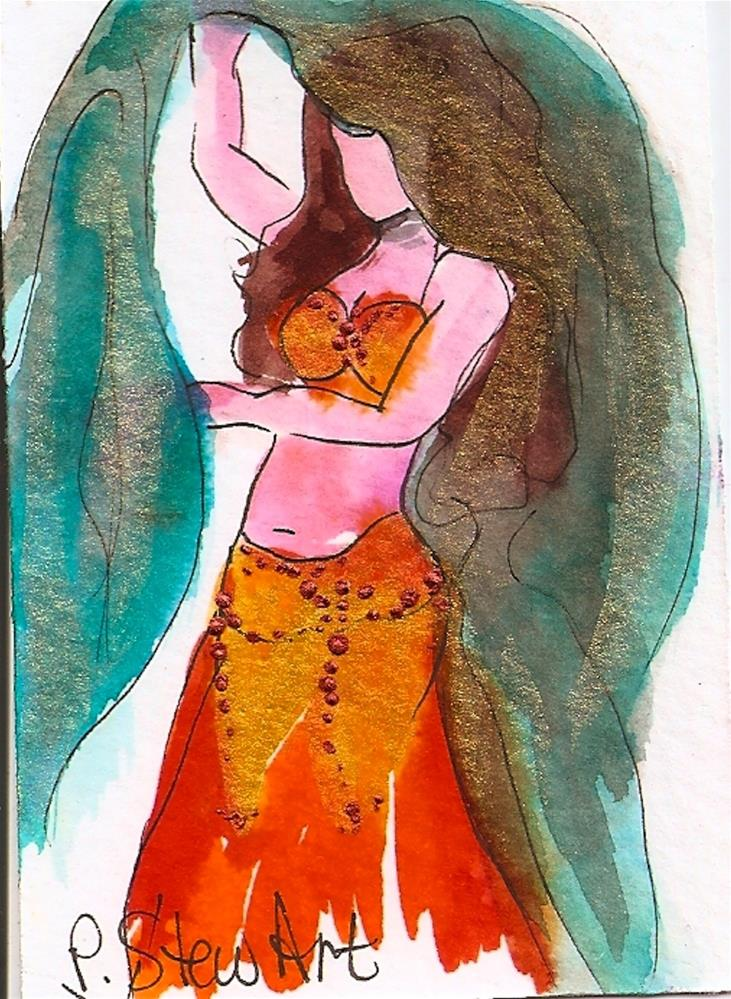 """""""ACEO Bellydancer #13, Watercolor and Pen with Metallic Accents, Original, OOAK"""" original fine art by Penny Lee StewArt"""