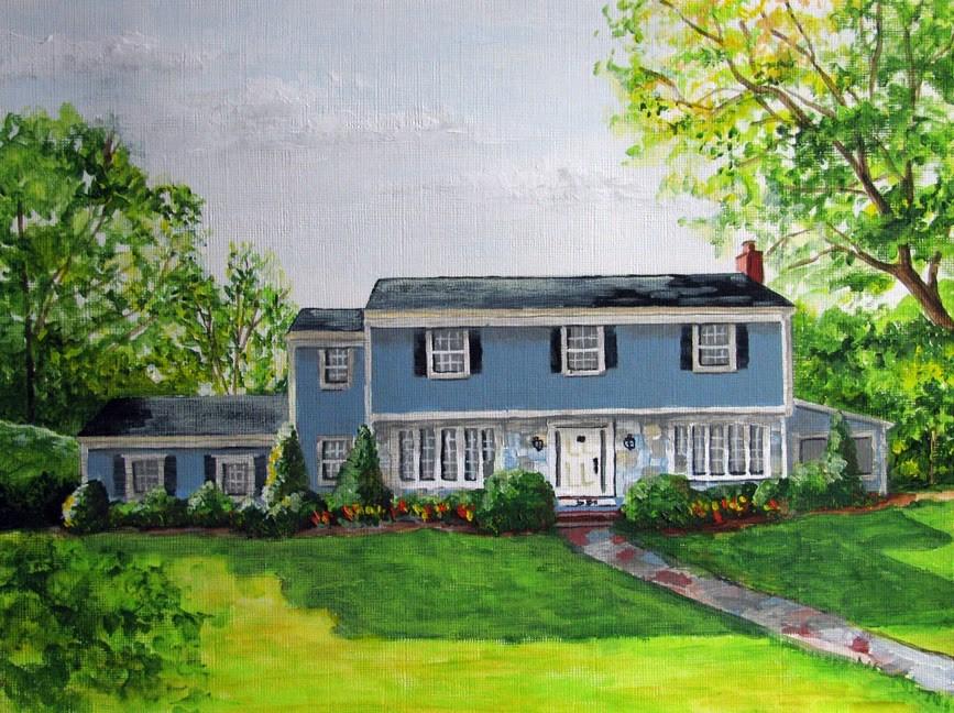 """House with Tulips"" original fine art by Nan Johnson"