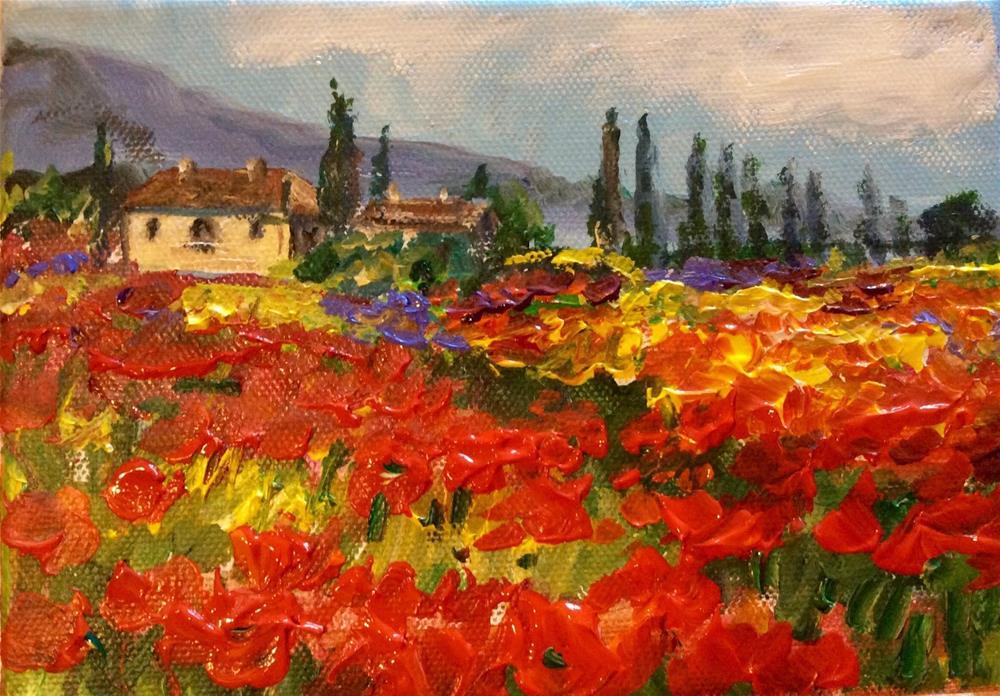 """""""Tuscany poppies"""" original fine art by Sonia von Walter"""