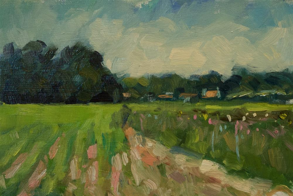 """""""Field and Track at Climping"""" original fine art by Andre Pallat"""