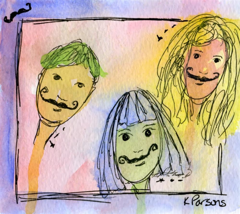 """""""I Mustache you a Question"""" original fine art by Kali Parsons"""