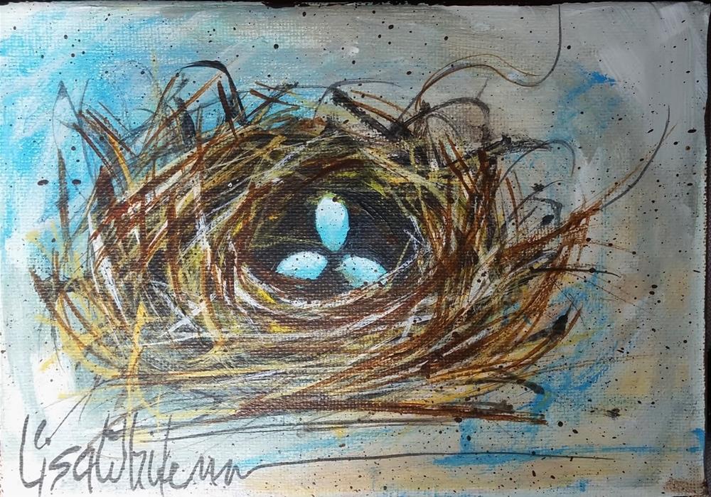 """122 - Spring blues"" original fine art by Lisa Rogers"