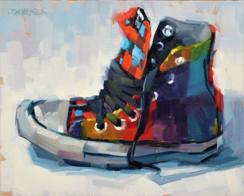 """Colorful Kick"" original fine art by Karen Werner"
