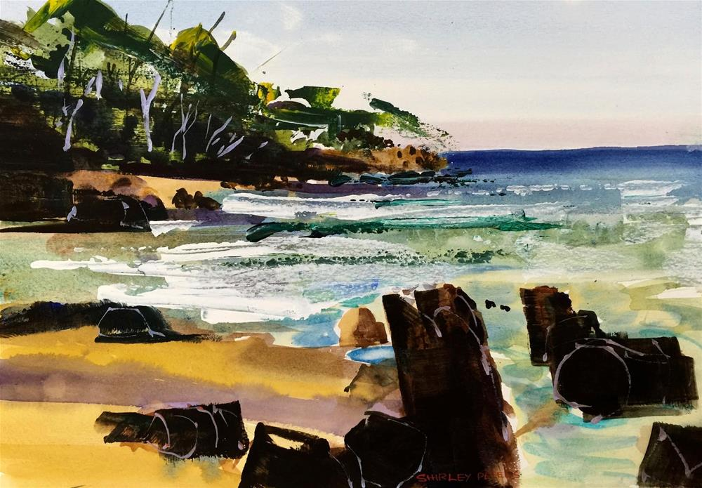 """Bridport Warm Water"" original fine art by Shirley Peters"