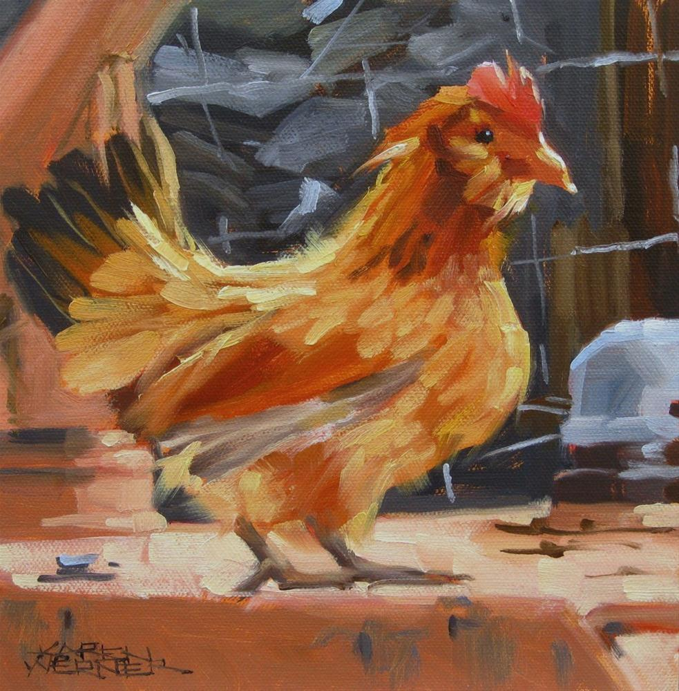 """Chicken"" original fine art by Karen Werner"