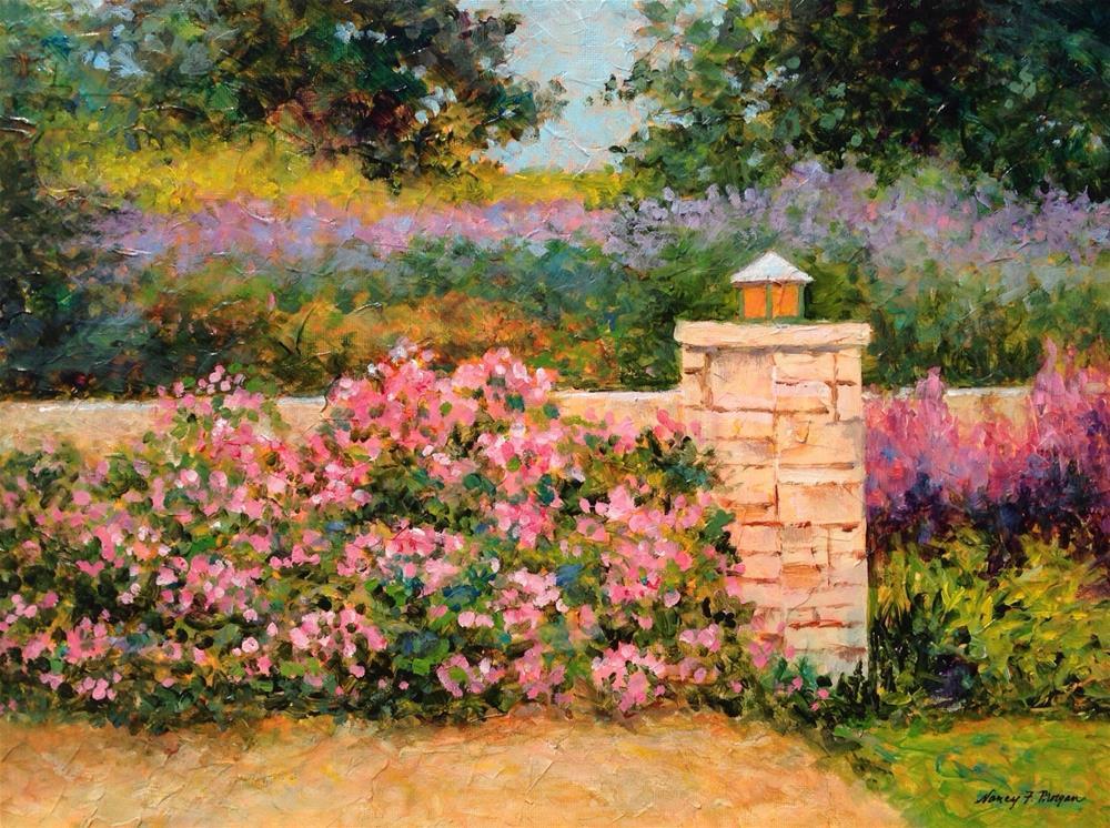 """Garden Wall"" original fine art by Nancy F. Morgan"