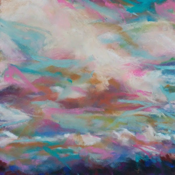 """""""KISS OF THE CLOUDS - 6 x 6 skyscape pastel by Susan Roden"""" original fine art by Susan Roden"""