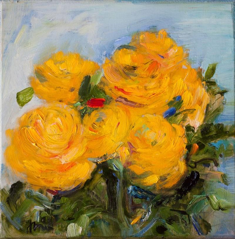 """Yellow Ranunculus"" original fine art by Anna Fine Art"