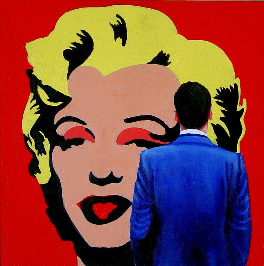"""Marilyn Monroe- Painting Of Man Enjoying Painting By Andy Warhol"" original fine art by Gerard Boersma"