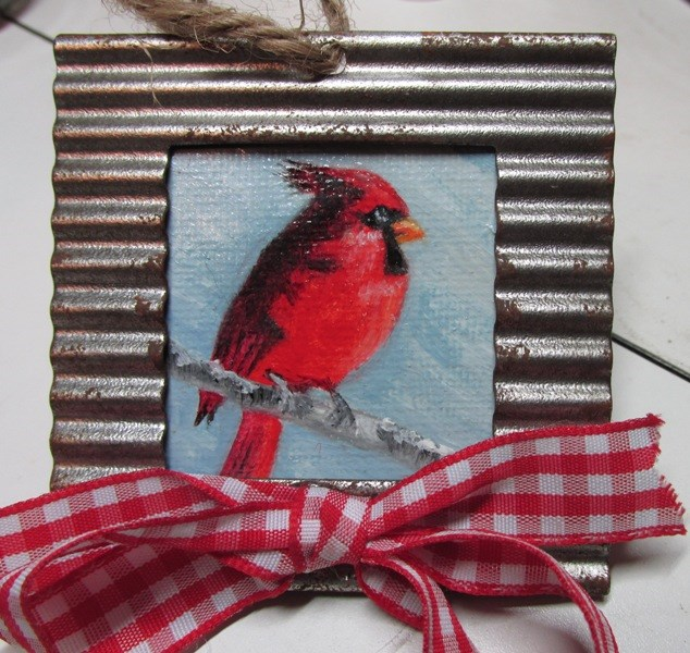 """Christmas Cardinal Ornament"" original fine art by Ruth Stewart"
