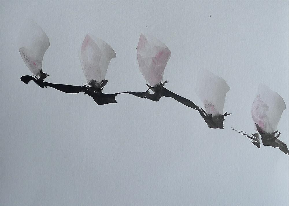 """Five magnolia buds"" original fine art by Ulrike Schmidt"