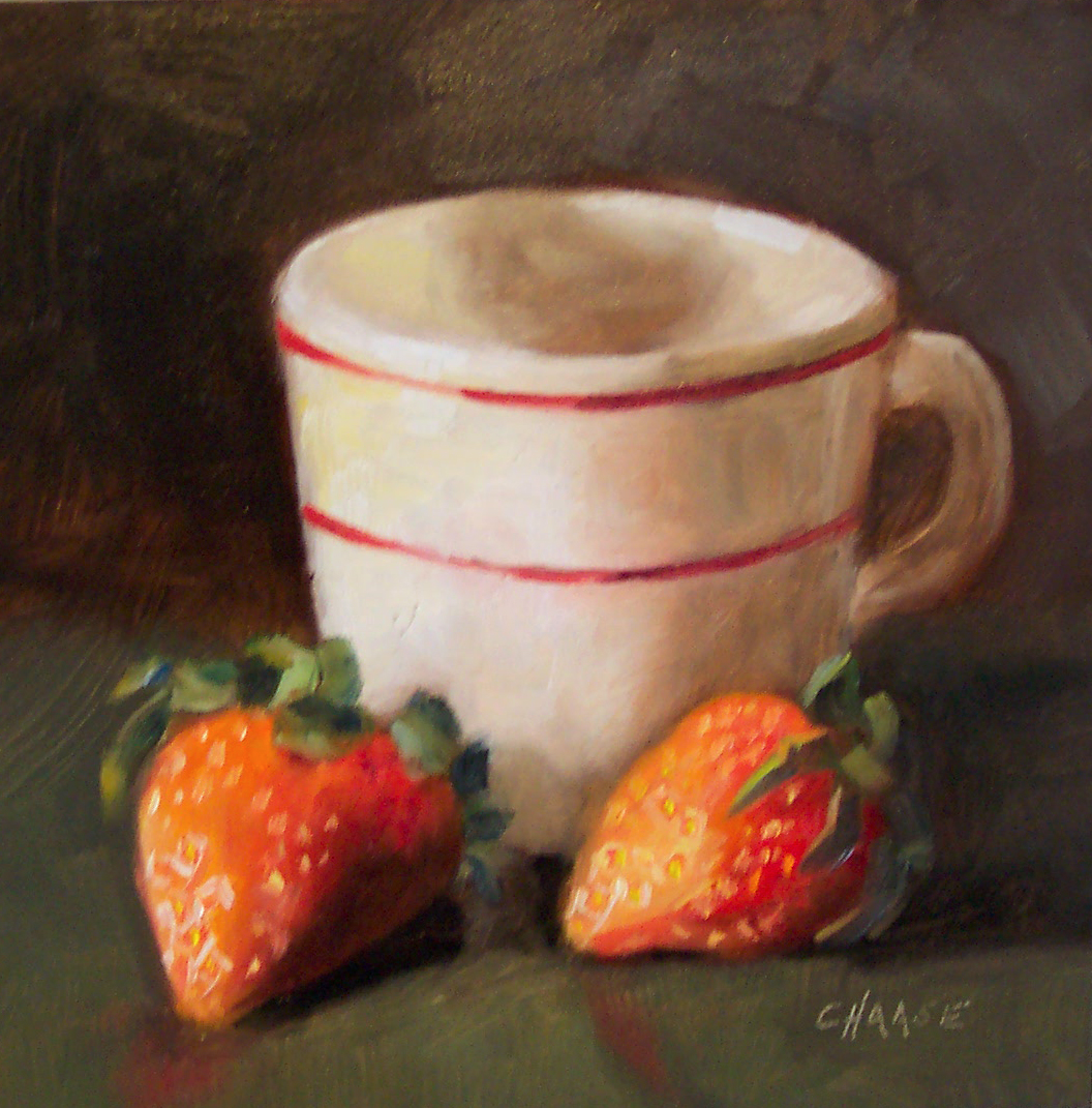 """Diner Cup and Strawberries"" original fine art by Cindy Haase"
