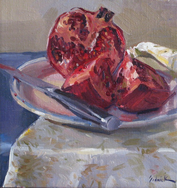 """Cut Pomegranate no. 2"" original fine art by Sarah Sedwick"