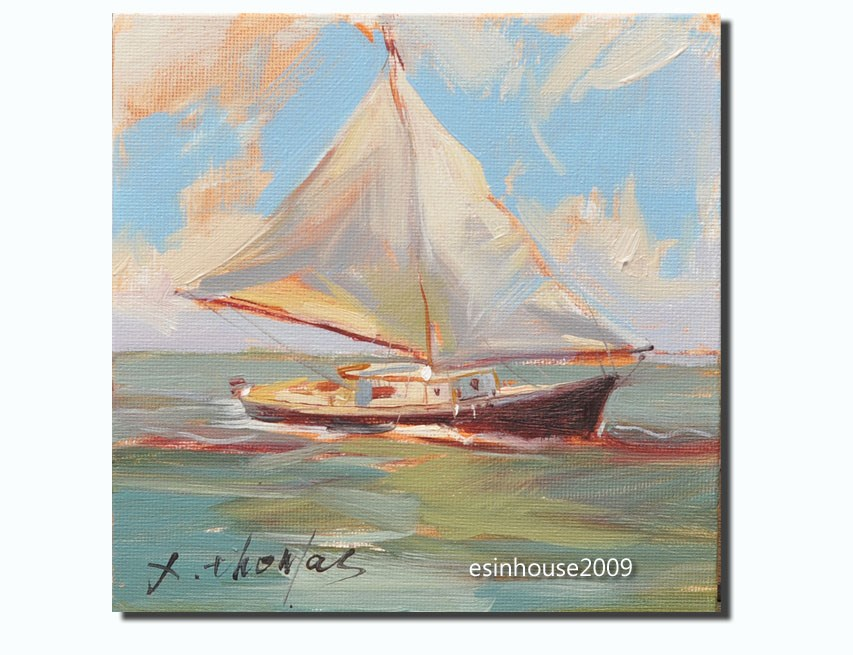 """sailboat"" original fine art by Thomas Xie"