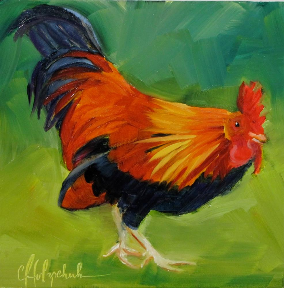 """Rooster"" original fine art by Christine Holzschuh"