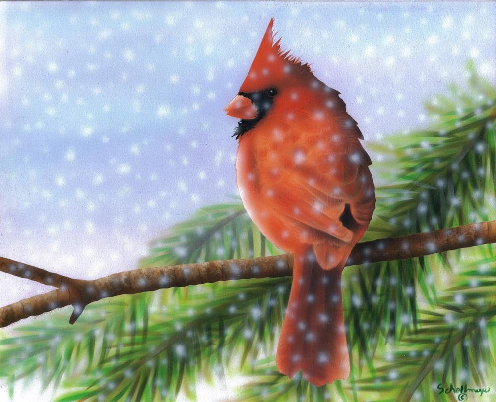 """""""Cardinal in the Pines"""" original fine art by Fred Schollmeyer"""