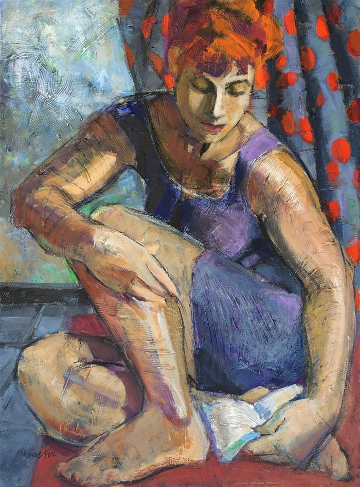 """""""Reading While It Rains, Marie Fox figurative painting woman, book, raining, contemporary abstract fi"""" original fine art by Marie Fox"""