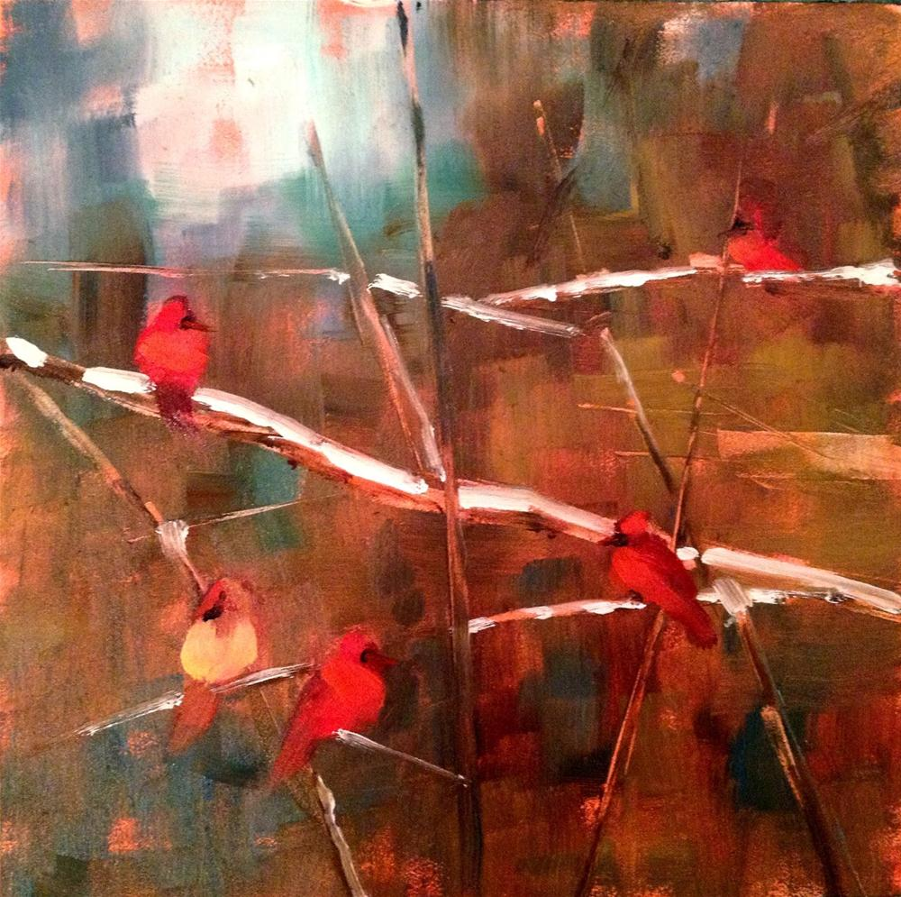 """The Year of the Cardinal, 6x6"" original fine art by Ann Feldman"