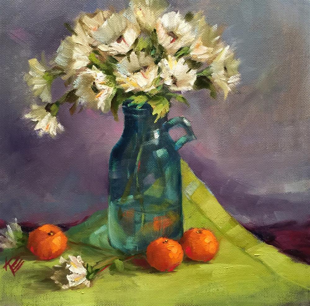 """Daisies & Mandrins  Still Life"" original fine art by Krista Eaton"