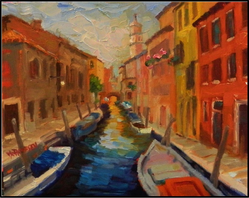 """The Colors of Venice, 8x10, oil on Raymar panel, paintings of Venice italy, canal, gondola, boats"" original fine art by Maryanne Jacobsen"