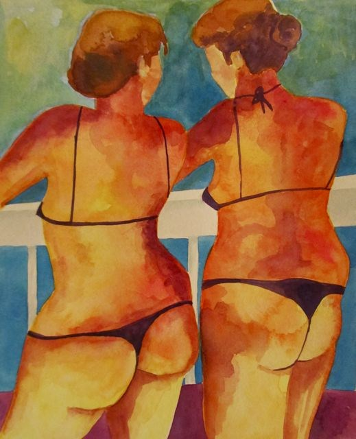 """Bikini Babes"" original fine art by Patricia MacDonald"