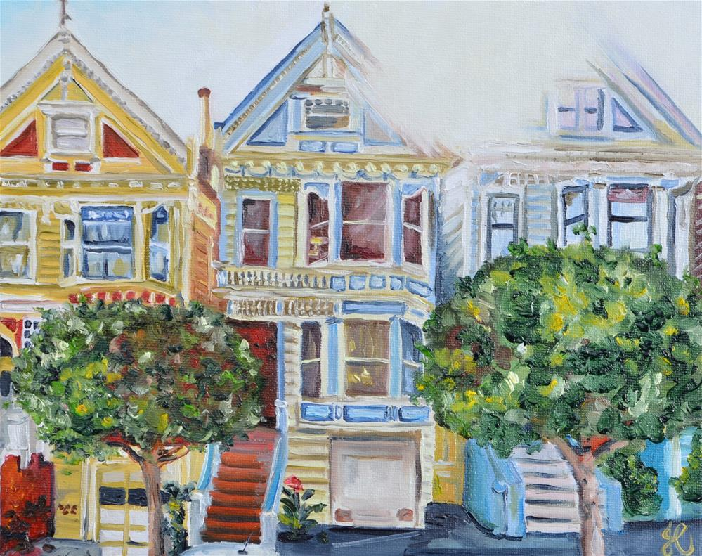 """The painted ladies (viewed from Google Street View)"" original fine art by Jacinthe Rivard"