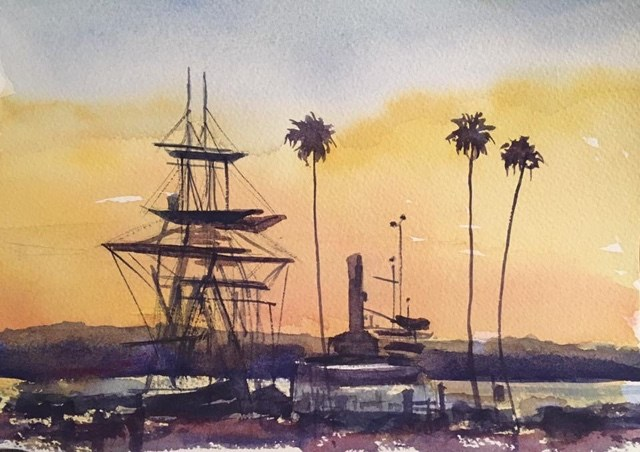 """Sunset on the Bay"" original fine art by Katharine Engh"