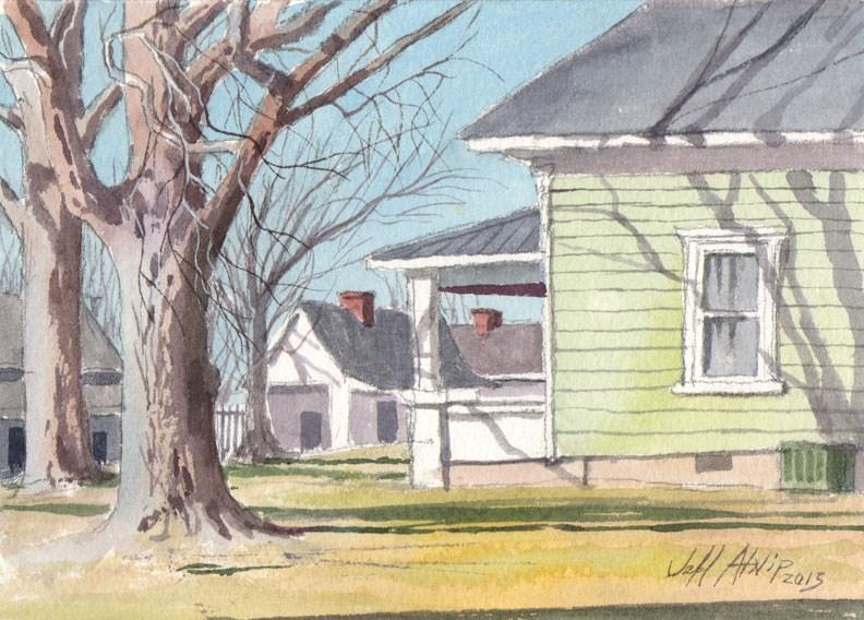 """Tullahoma Side Yard"" original fine art by Jeff Atnip"