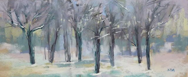 """A Tip for Painting Bare Winter Trees"" original fine art by Karen Margulis"
