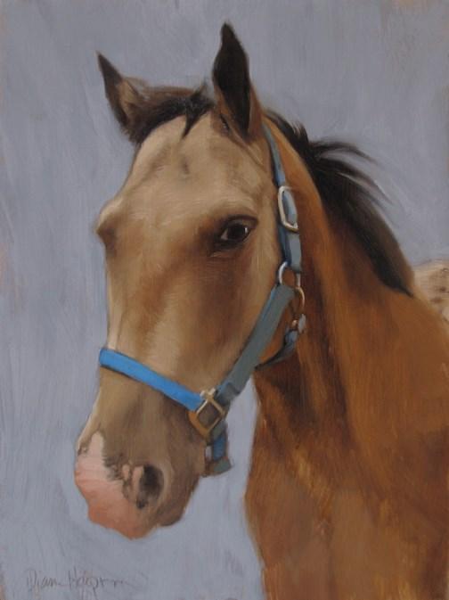"""""""Horse with Blue Bridle"""" original fine art by Diane Hoeptner"""